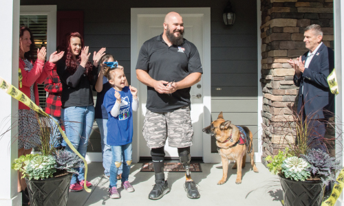 Air Force TSgt Daniel Fye and Family welcomed to their accessible home provided by Homes For Our Troops