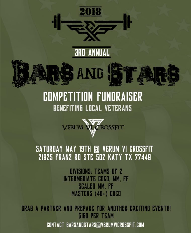 Bars and Star CrossFit Competition Fundraiser @ Bars and Star Competition Fundraiser | Katy | Texas | United States