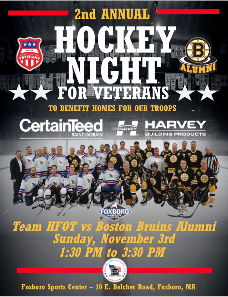 Homes For Our Troops - 2nd Annual Hockey Night for Veterans