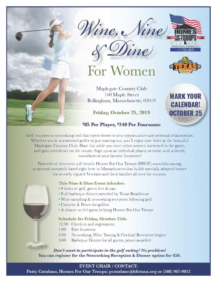 Wine, Nine, & Dine For Women @ Maplegate Country Club | Bellingham | Massachusetts | United States