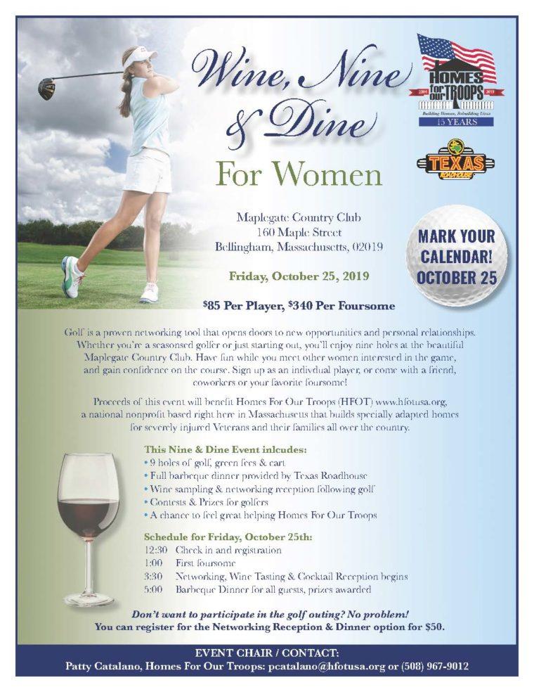 Wine, Nine, & Dine For Women @ Maplegate Country Club | Bellingham | Massachusetts | United States