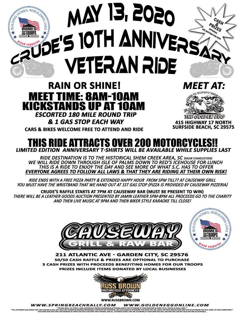 Crude's 10th Annual Veteran Ride @ The Golden Egg | Surfside Beach | South Carolina | United States