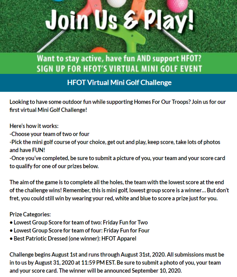Mini Golf Challenge - HFOT Stay Active Series @ Virtual