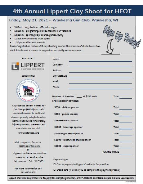4th Annual Lippert Clay Shoot for HFOT @ Waukesha Gun CLub | Waukesha | Wisconsin | United States