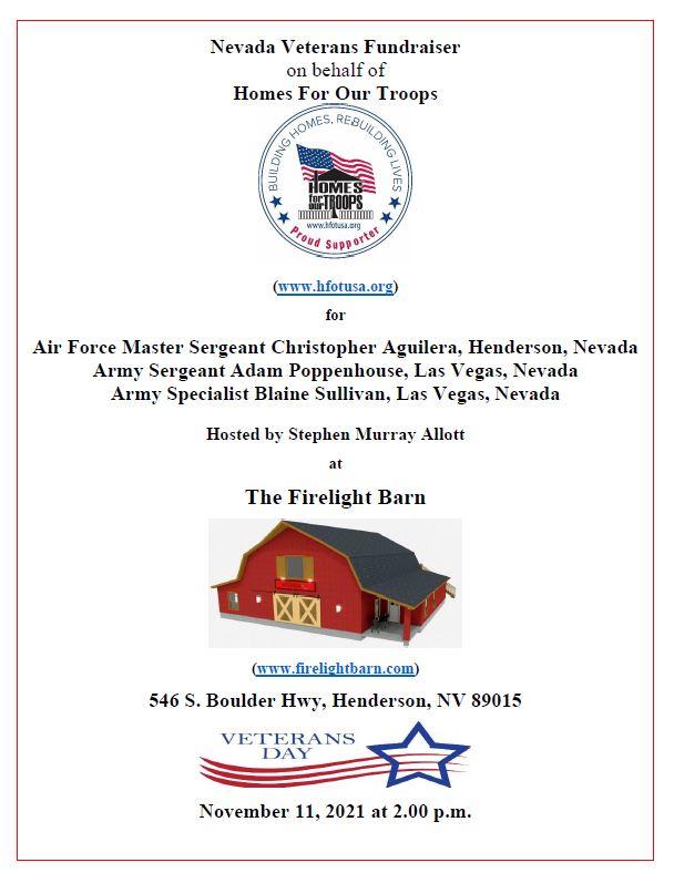 Las Vegas: Nevada Veterans Fundraiser @ The Firelight Barn | Henderson | Nevada | United States